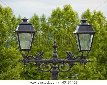 a vintage streetlights in Pau city France