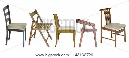 Set Of Wooden Chair Isolated On White With Clipping Path