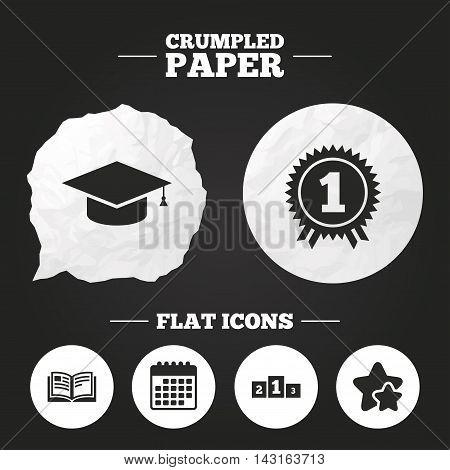 Crumpled paper speech bubble. Graduation icons. Graduation student cap sign. Education book symbol. First place award. Winners podium. Paper button. Vector