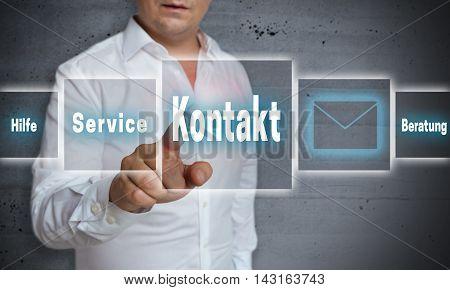 Kontakt (in German Contact Service Help Advice) Touchscreen Concept Background