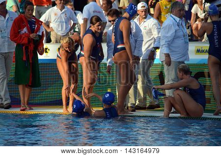 Budapest, Hungary - Jul 16, 2014. Hungarian team is not happy after losing. The Waterpolo European Championship was held in Alfred Hajos Swimming Centre in 2014.