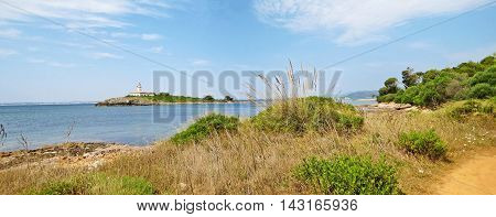 Rural Panoramic Landscape With Lighthouse On Island