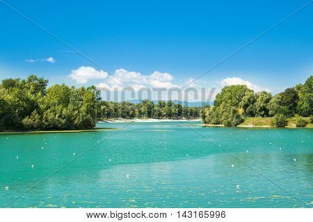Beautiful Jarun lake in Zagreb, Croatia, sunny summer day poster
