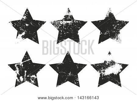 Set of grunge star labels. Retro frames for emblems . Vector vintage distressed stamp.
