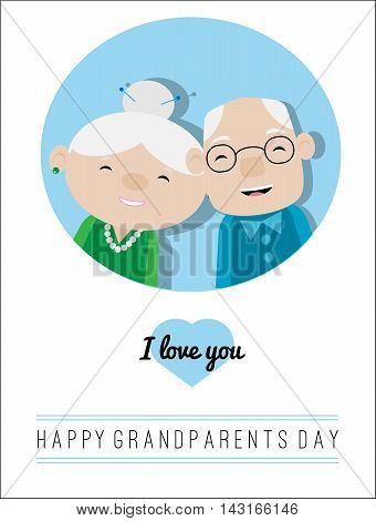Grandparents day card, flat design, smiling grandma and grandpa