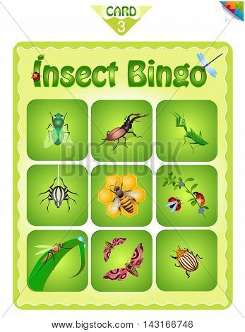 Printable educational bingo game for preschool kids with different insects. Bingo cards. Cartoon vector illustration.