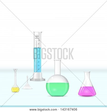Chemical lab glassware kit on working table laboratory equipment 3d illustration vector eps 10