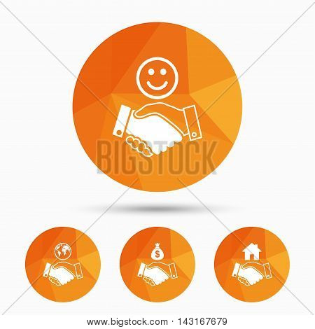 Handshake icons. World, Smile happy face and house building symbol. Dollar cash money bag. Amicable agreement. Triangular low poly buttons with shadow. Vector