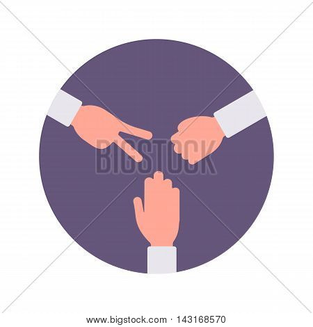 Paper, rock, scissors handsign in a purple circle. Cartoon vector flat-style concept illustration