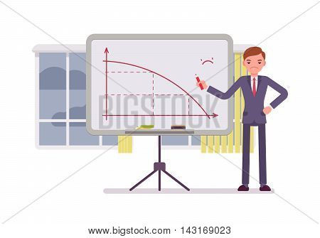 Man in a formal wear drew a negative graph on the whiteboard. Cartoon vector flat-style concept illustration