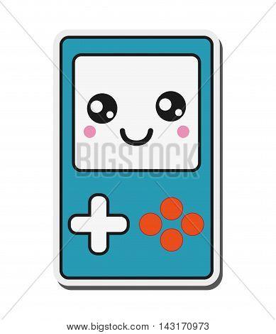 flat design kawaii handheld console icon vector illustration