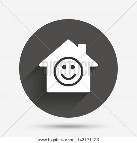 Comedy club. Smile icon. Happy face chat symbol. Circle flat button with shadow. Vector