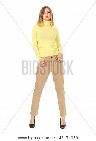 Pretty Young Girl Wearing Brown Trousers Isolated