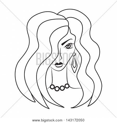 Vector silhouette of beautiful woman with a luxurious hair & round beads on the neck on a white background. Vector beauty and fashion illustration.