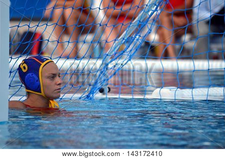 Budapest, Hungary - Jul 16, 2014. Spain's PAREJA LISALDE Jennifer (ESP, 6). The Waterpolo European Championship was held in Alfred Hajos Swimming Centre in 2014.
