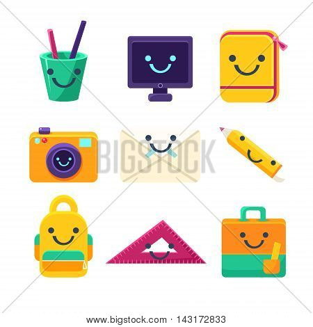 Office Desk Supplies Set Of Characters In Primitive Childish Cartoon Flat Vector Design Isolated On White Background