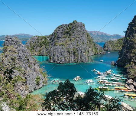 A view of the harbour on Coron island, philippines