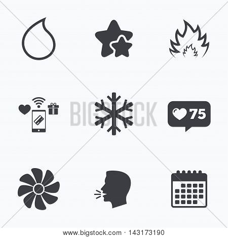HVAC icons. Heating, ventilating and air conditioning symbols. Water supply. Climate control technology signs. Flat talking head, calendar icons. Stars, like counter icons. Vector