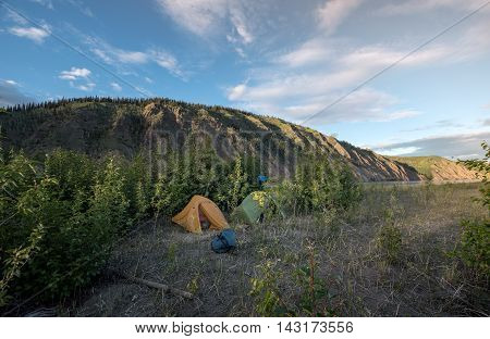 Camping in the Yukon in the wilderness