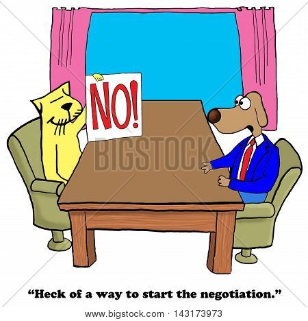 Business cartoon showing a large 'no', there is a lack of interest in negotiation.