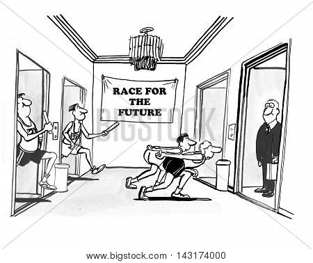 Business cartoon showing businesspeople in a relay race.