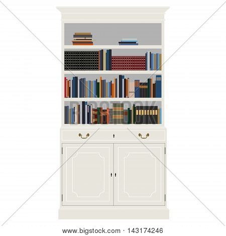 Vector illustration white vintage cabinet with book -bibliography encyclopedia and handbooks. Retro interior furniture. Bookshelf poster