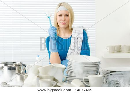 Modern Kitchen - Happy Woman Washing Dishes