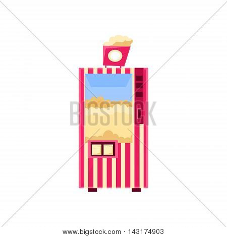 Popcorn Cinema Vending Machine Design In Primitive Bright Cartoon Flat Vector Style Isolated On White Background