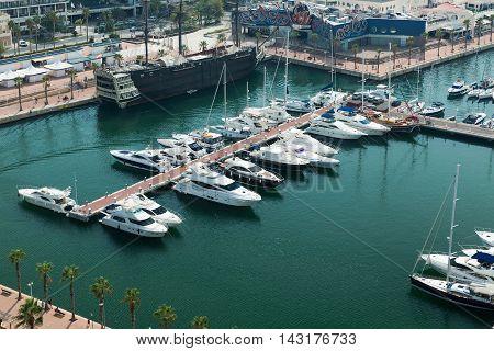 Alicante, Spain - SEPTEMBER 2015: Coast and Harbour of Alicante