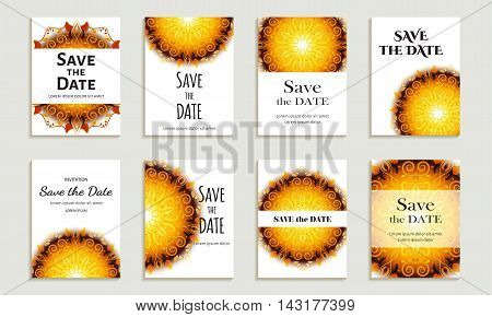 Set of cards save the date. Layouts with bright yellow circular pattern. Vector illustration for corporate identity individual cards form style.