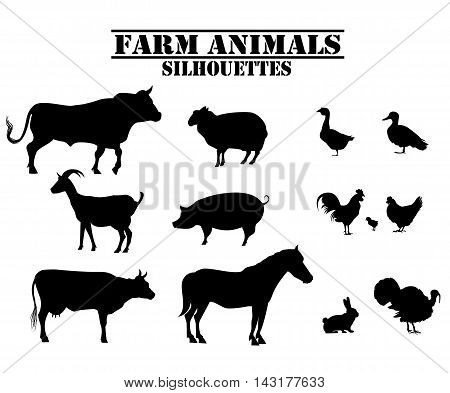 Vector farm animals silhouettes of bull, cow, turkey, rabbit, pig, rabbit, goose, duck, rooster, chicken, horse, sheep, goat, chicken.