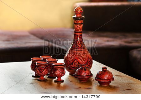 Decorated Moroccan Pottery On Table