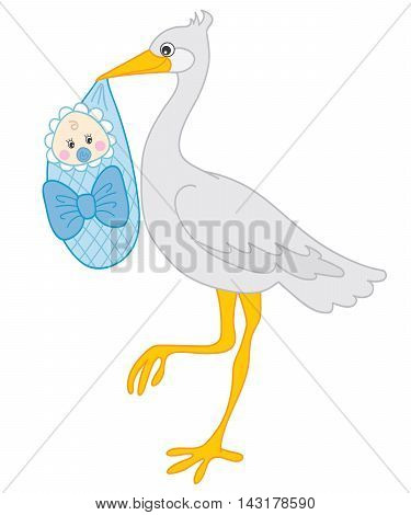 Vector cute grey stock with baby boy