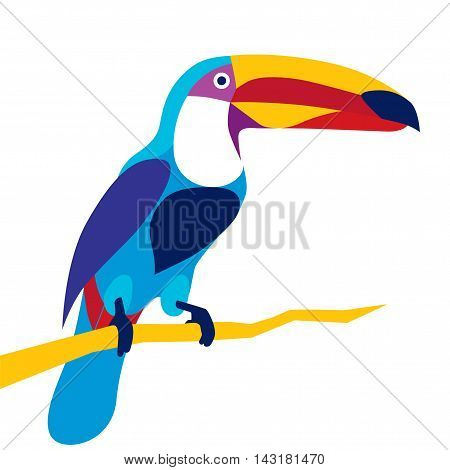 Trendy stylized illustration, toucan bird, line vector silhouette of toucan bird, vector illustration
