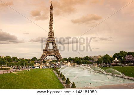 View at famous Tour Eiffel in Paris France poster