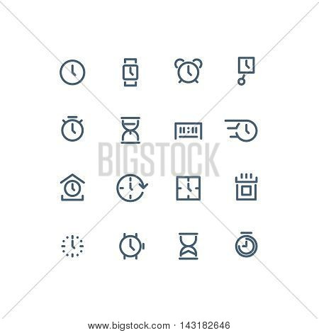 Set of different time icons. Clock, watch, calendar, sand watch, chronometer. Line art vector illustration