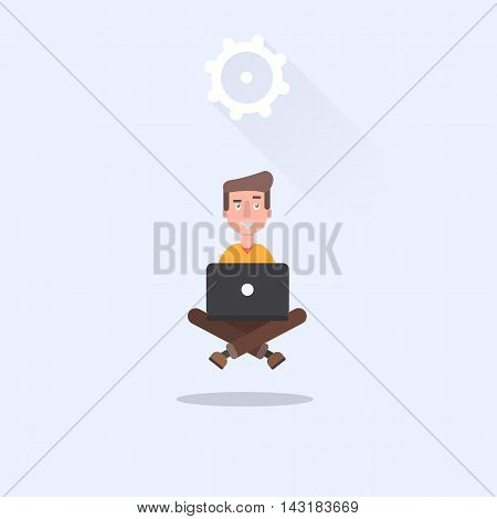 Man sitting in the lotus position for a laptop and thinking on how to do their job. EPS 10. Vector