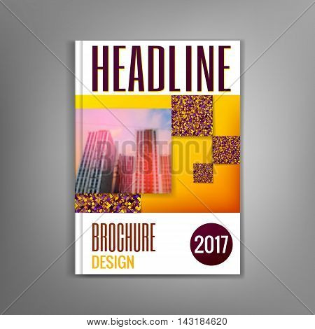 Yellow brochure template, flyer, leaflet, presentation covers, annual report, magazine cover. Modern dynamic design Vector illustration