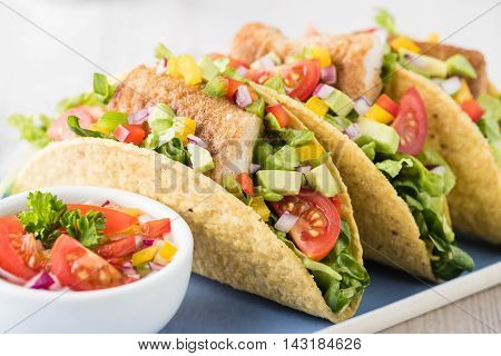 Fish Tacos Shell With Avocado Salsa