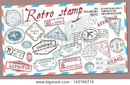 Retro post stamp. Passport Stamps. Vector stamp collection