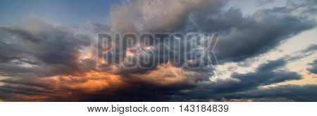 Dramatic sky with stormy clouds Nature composition.