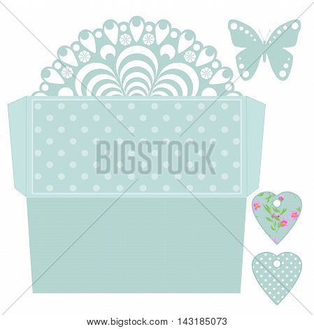 Die cut envelope amd tags template. Laser cut envelope for wedding invitation card. Envelope in retro blue polka dot style