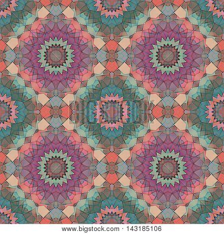 Glass vitrage mosaic kaleidoscopic seamless pattern texture background