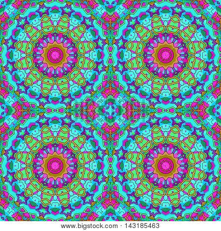 Glass vitrage mosaic kaleidoscopic seamless pattern background