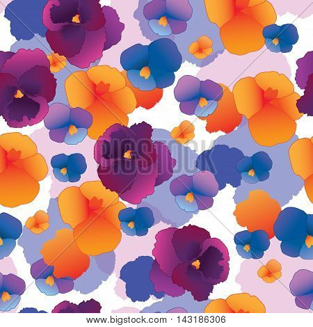 Seamless pattern with pansy flowers. Vector illustration.