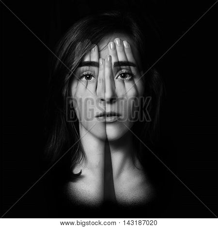 Surreal Portrait Of A Young Girl Covering  Her Face And Eyes With  Her Hands.double Exposure. Black