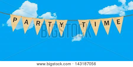 Individual Cloth Pennants Or Flags With Party Time