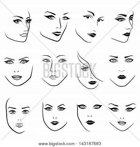 Set of twelve young women faces of various characters hand drawing vector outlines isolated on the white background