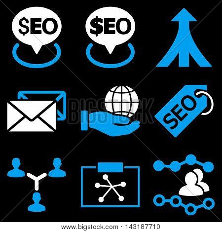 Seo vector icons. Pictogram style is bicolor blue and white flat icons with rounded angles on a black background.