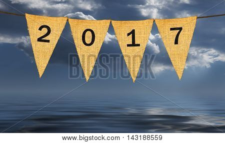 Individual Cloth Pennants Or Flags With 2017 New Year